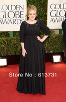 Wholesale 70th Golden Globes Awards Red Carpet Adele Black Empire Plus Size Celebrity Bateau Beaded Dresses