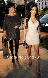 Wholesale 2016 Kim Kardashian Bandage Prom Club Dresses White Black Celebrity Party Dresses Short Mini Dresses BD0031