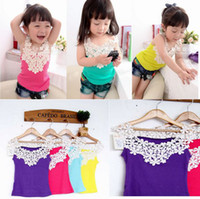 Wholesale NWN Girl s Vest Baby Lace Tops Shorts Baby Vest Girl T shirt Side Front Back Hollow carved Shirts