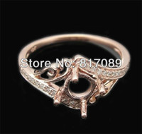 Wholesale classical style MM round solid k rose gold Engagement Wedding semi mount Ring