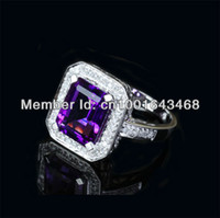 Wholesale Emerald Cut x10mm AMETHYST K WHITE GOLD CT DIAMOND Engagement Wedding RING
