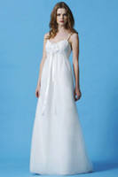 Wholesale Spaghetti strap V neck Tulle Floor length Empire Waist Wedding Dress Eden Silver Label SL027