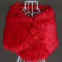 Wholesale Designer Red One Piece Fur Bridal Wrap of Cape Shawl Jackets for Wedding Dresses