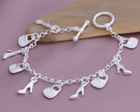 Wholesale High quality Beautiful hot Silver fashion jewelry charm Lovely girl shoe Noble bracelet YAB15