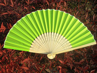 Wholesale hand made inches plain color Bridal wedding fans Bamboo fans Folding fans
