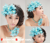 tire powder - The bride powder blue headdress flower bridal gown deserve to act the role of the bride tire twinset