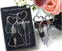 Wholesale pair Unique Wedding Takeaway Gift Wine Bottle Accessories Bottle Opener