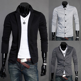 Wholesale Mens Autumn panpiemras paragraph stand collar casual jacket outerwear suit grey black