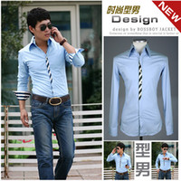 Men Cotton Shirts Wholesale&retail Free shipping Mens silks stripe slim fit long-sleeve dress shirt cheap price black blue red size M-XL