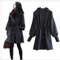 Wholesale Western new style sheep wool blended rib cotton trench coats slim hoodies ladies wind coat with belt