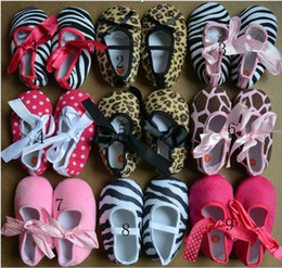 Wholesale Animal print toddle shoes leopard zebra polka ribbon shoes baby first walk shoes