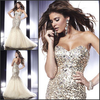 Wholesale Shining charming exquisite sweetheart sequin mermaid sweep prom dresses evening dresses fashion new arrival hot sale