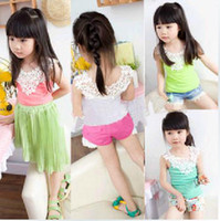 Wholesale EMS Free Pc Girl s Vest Lace Tops Shorts Girl T shirt Side Hollow carved Shirts Girl T Shirt