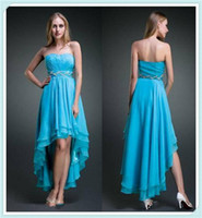A-Line Modern Sequin Wholesale Blue Sweetheart Shine Sash Beaded Hi-Lo A-Line Sexy Prom Party Teen Dress Dresses Gowns