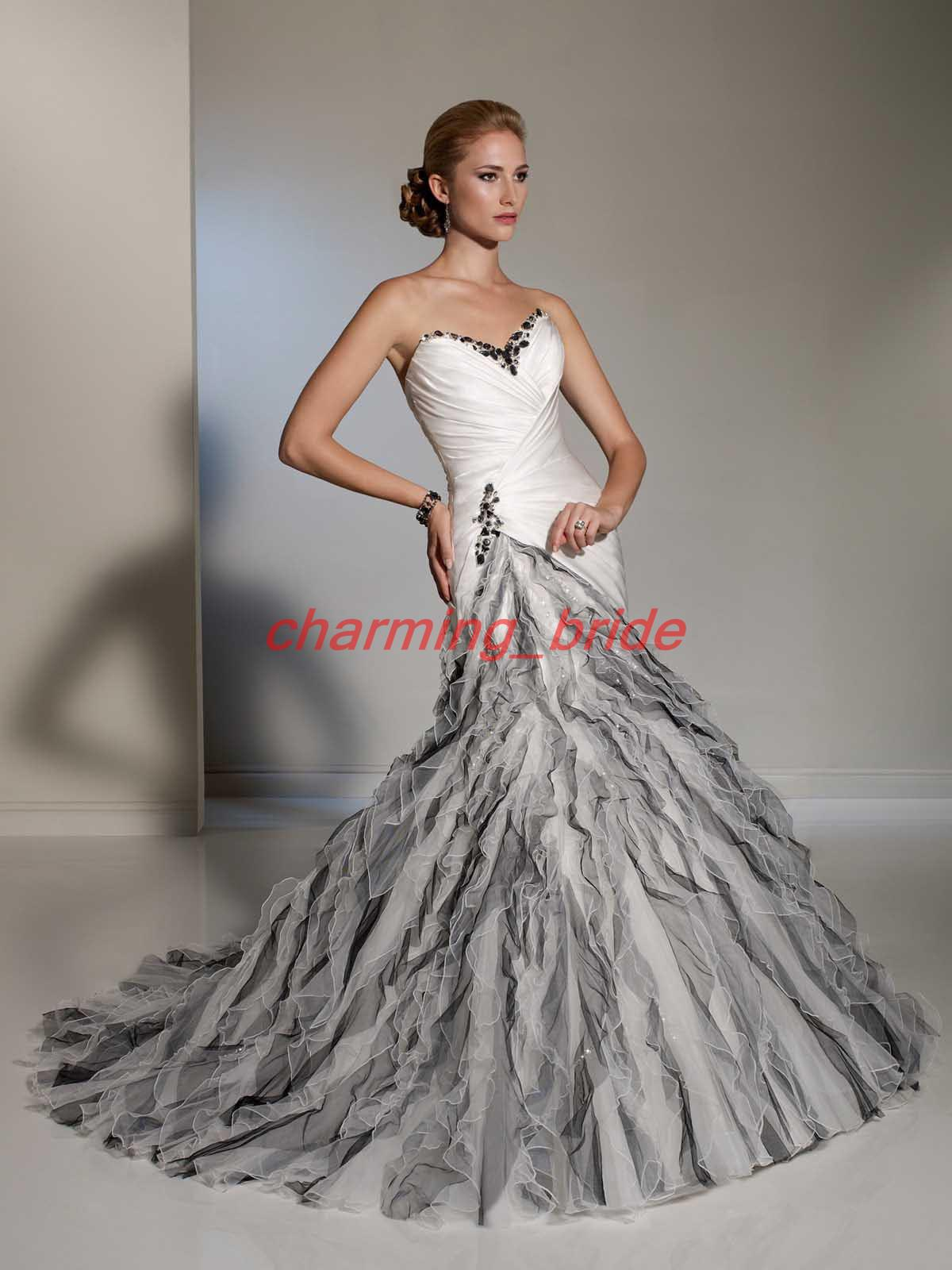 Designer Black And White A Line Sweetheart Wedding Bridal Gowns ...