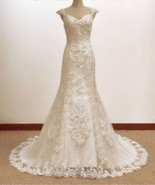 Wholesale Latest Couture Mermaid V neck Cap Sleeve Lace Beaded Wedding Dress Porm Bridal Gowns Chapel Train