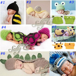 Wholesale Handmade Children Hat Newborn Baby Crochet Beanie Toddler Knitted Animal Hat Photography Props sets