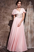 Real Photos V-Neck Chiffon Wow! New Elegant Ruffle Appliques Light Pink Chiffon Prom Dress Evening Dresses Wedding Gown RL892
