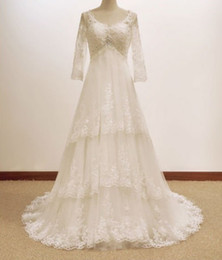 Wholesale Long Sleeve A line V ncek Maternity Lace Beaded Wedding Dresses Porm Bridal Gowns Chapel Train