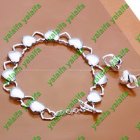 Wholesale 2013 new Sterling silver plated set mix heart style bracelet earring style chain jewelry set w22