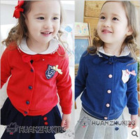 Wholesale 2013 Spring Baby Girls badge Button Front round neck Long Sleeve Cardigan Jacket