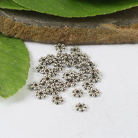 Wholesale 500pcs Tibetan Silver mm Flat Daisy Spacers mm H0725