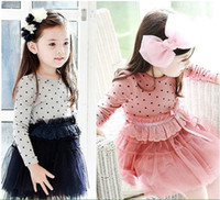 Cheap Korean 2013 New style baby clothes 3-7Year children dress pure cotton dot grenadine girls dress