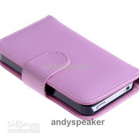 Wholesale 200pcs wallet PU leather case with Slot Holder for iphone for iphone4s colors good quality
