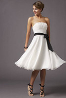 Wholesale AttentionNew Concise Ruffle Short Chiffon Backless Sleeveless Bridesmaids Dresses Wedding Gown RL913