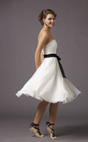 Wholesale In Stock Chiffon Knee Length Black Sash Ribbon White Pageant Dresses Wedding Party Homecoming Gown Size US2 US16