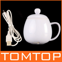Wholesale USB Novelty Powered Coffee Tea Beverage Cup Mug Warmer Heater Blue White Free Drop Shipping