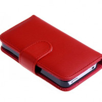 Wholesale wallet PU leather case Credit with Card Slot Holder for iphone for iphone4s colors