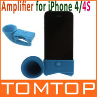Wholesale Blue Color Cute Portable Silicone Horn Stand Amplifier Speaker for iPhone S Drop Sh