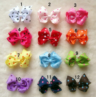 Wholesale 4inches Grosgrain Bows double prong clips covered hairpin Bows Baby Hair bow ribbon bows headband