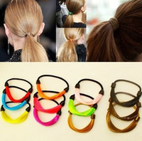 Wholesale New Women Hair Band Colorful Hair Loop Barrette Ponytail Pony Tails Holder Colors Mix