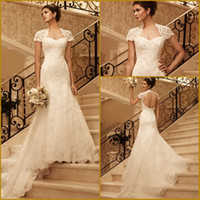 Wholesale Popular Custom Cap Sleeves Cutout Open Back Lace Mermaid Court Train Wedding Dresses Bridal Gowns