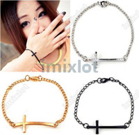 Wholesale Fashion Gothic Punk Rock Sideways Metal Cross Simple Bracelet Silver Gold Black quot F345A
