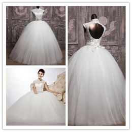 Wholesale Wedding dresses Ball Gown High Collar beads Applique floor length vintage bow bridal gown M3176