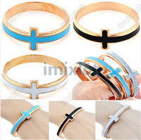 Wholesale Gothic Punk Rock Retro Ladies Enamel Cross Antique Gold P Bangle Bracelet Free Ship F344A