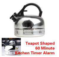 Dial Timers stainless  ECO Friendly Teapot Shaped Ring 60 Minute Kitchen Timer Alarm Mechanical Timer Clock Counting