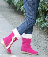 Wholesale Beautiful Hot Pink Boots Original UK Girls Snow Boots Special Horn Button Design Children s Boots