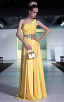 Real Photos One-Shoulder Chiffon Wow New Fantasy Ruffle Beads Yellow Chiffon Sleveeless Prom Dress Evening Dresses Wedding Gown RL948