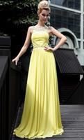 Real Photos Halter Chiffon Wow!! New Fantasy Ruffle Beads Sequin Yellow Chiffon Prom Dress Evening Dresses Wedding Gown RL951