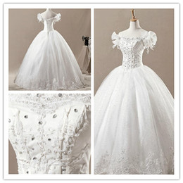 Wholesale Wedding dresses Ball Gown Bateau beads Applique Floor length embroidery sexy bridal gown M3180