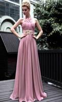 Real Photos Halter Chiffon Wow!! New Fantasy Ruffle Beads Sequin Pink Chiffon Prom Dress Evening Dresses Wedding Gown RL952