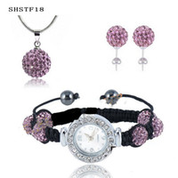 Wholesale Luxury Nice Shamballa Necklace Bracelet Watch Stud Jewelry sets Bling Disco Ball Macrame sets Hot