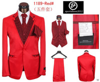 Wholesale New Men s Red suit Gentleman Advanced dress pieces set Silk fabrics Tie White shirt Black trousers