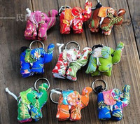 Wholesale ZJ National Handmade Cotton flower elephant Keychain cm