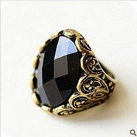 Women's Fashion Rings Min.order is $15 (mix order) OD0199 Fashion retro Carving Black stones ring,black rings