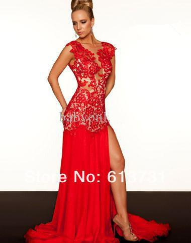 Mermaid Prom Dresses Cap Sleeve Red Lace Appliques Long Slit Front ...